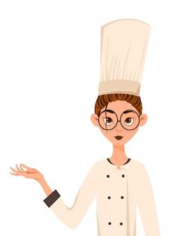 Zestaw postaci kobiecych. kobieta kucharz wskazuje na rękę z boku. ilustracji wektorowych.