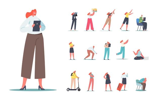 Zestaw postaci kobiecych, kobieta z komputera typu tablet, lornetki, dziewczyna student, zajęty sekretarz z stos folderów, podróżnik z torbą na białym tle. ilustracja wektorowa kreskówka ludzie