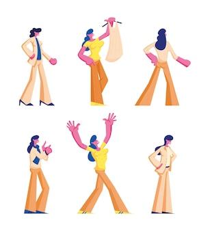 Zestaw postaci kobiecych w odzieży codziennej i formalnej stoją w różnych pozycjach. płaskie ilustracja kreskówka