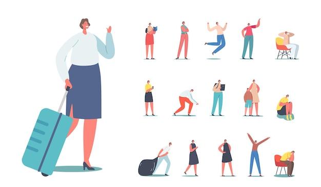 Zestaw postaci kobiecych z walizką, ciągnąć worek na śmieci, uczeń dziewczyna czytanie książki, matka z synem, kobieta z komputera typu tablet lub smartfon na białym tle. ilustracja wektorowa kreskówka ludzie