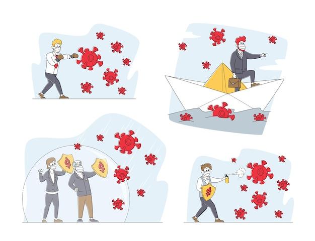 Zestaw postaci ludzi biznesu w rękawicach bokserskich i maskach medycznych z tarczami walczącymi z ogromnymi komórkami koronawirusa