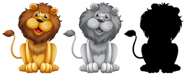 Zestaw postaci lwa