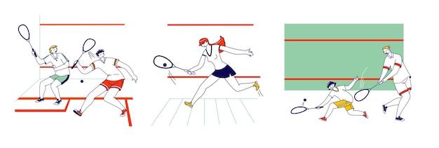 Zestaw postaci męskich i żeńskich grających w squasha sport game. aktywność treningowa lub konkurencja ludzi, zdrowy styl życia, czas wolny, hobby sportowe, sportowcy na korcie tenisowym. liniowa ilustracja wektorowa