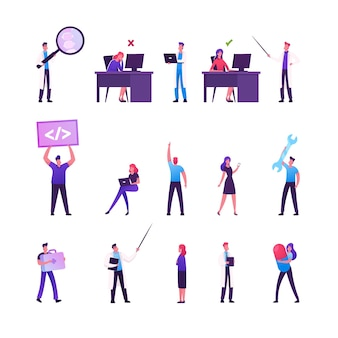 Zestaw postaci męskich i żeńskich pracujących w biurze, siedząc przy biurku w niewłaściwej i prawidłowej postawie