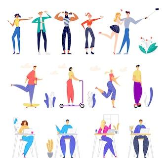 Zestaw postaci męskich i żeńskich wykonujących selfie i pozujących do aparatu fotograficznego, jeżdżących na skuterach elektrycznych i deskorolkach w parku miejskim