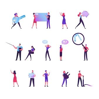 Zestaw postaci męskich i żeńskich zawiera ogromny klucz, kartę kredytową i skarbonkę