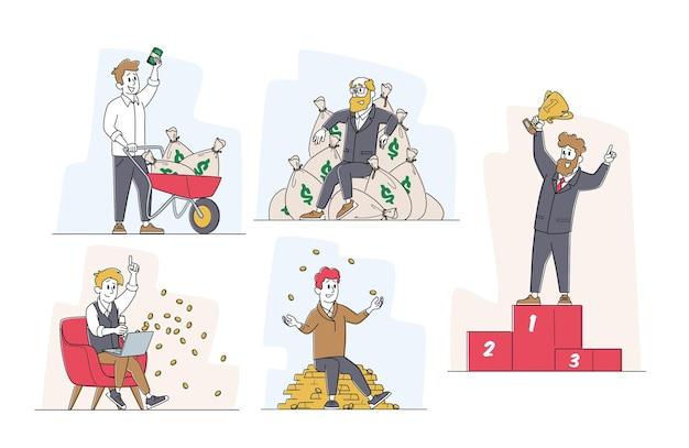 Zestaw postaci męskich sukcesu w biznesie w strojach wizytowych z trofeum