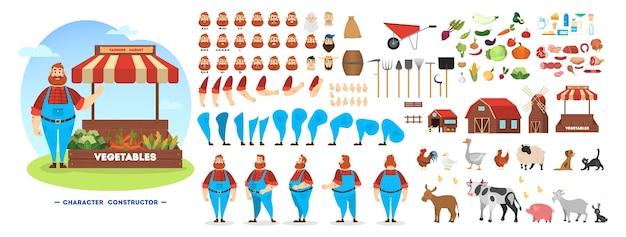 Zestaw postaci męskiego rolnika do animacji