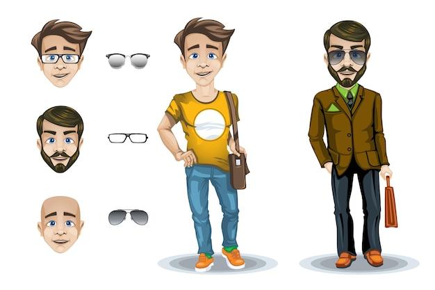 Zestaw postaci mężczyzny i chłopca z wyrazem twarzy i okularami.