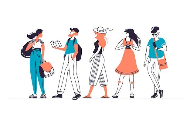 Zestaw postaci miejskich turystów, mężczyzn i kobiet w różnych pozach.