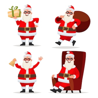 Zestaw postaci mikołaja daje prezent, biegając z torbą prezentów, dzwoniąc dzwonkiem, siedząc na krześle. ilustracja