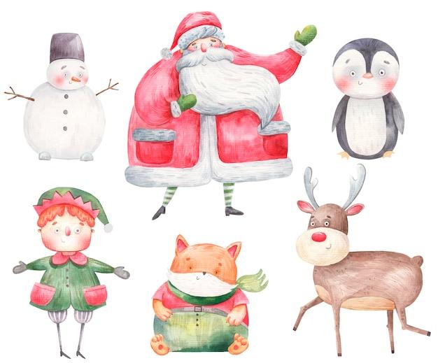 Zestaw postaci noworocznych i świątecznych, święty mikołaj, jeleń, gnom, pomocnik świętego mikołaja, pingwin, bałwan, lis, ilustracja akwarela.