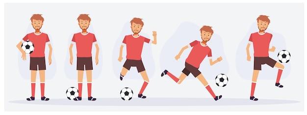 Zestaw postaci piłkarza przedstawiających różne działania