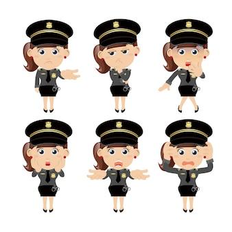 Zestaw postaci policjanta w różnych pozach