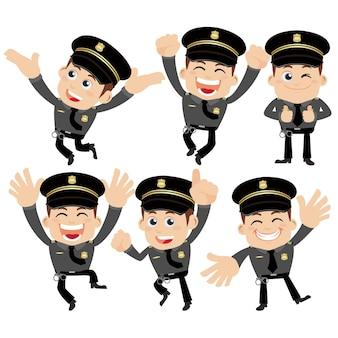 Zestaw postaci policjantów w różnych pozach