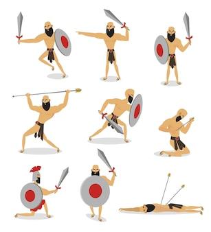 Zestaw postaci rzymskiego gladiatora w różnych pozach akcji