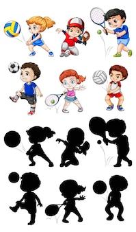 Zestaw postaci sportowca