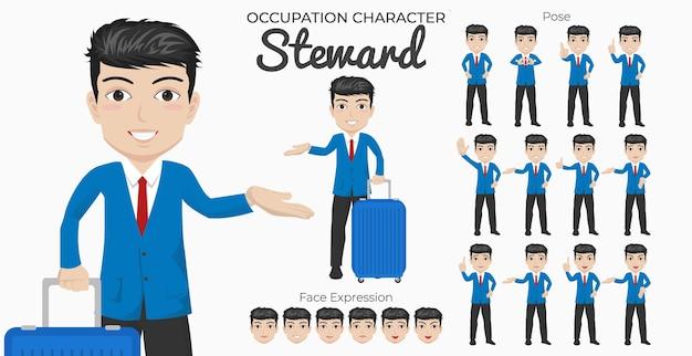Zestaw postaci stewarda z różnymi pozami i wyrazem twarzy