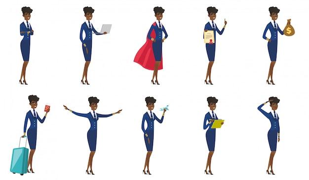 Zestaw postaci stewardess.