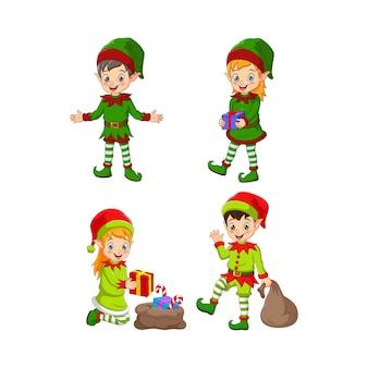 Zestaw postaci świątecznych elfów