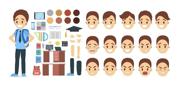 Zestaw postaci szkolnego chłopca w garniturze z różnymi pozami, emocjami twarzy i gestami. ilustracja na białym tle płaski wektor