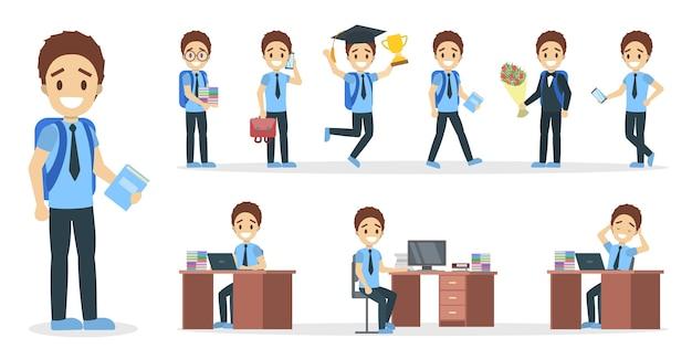 Zestaw postaci szkolnego chłopca w garniturze z różnymi pozami, emocjami twarzy i gestami. ilustracja