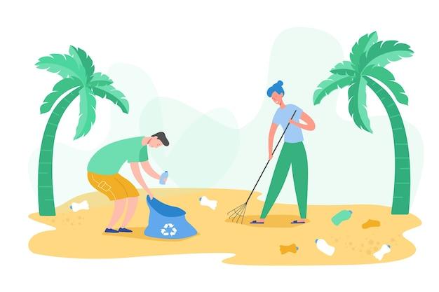 Zestaw postaci wolontariuszy zbierających śmieci i odpady z tworzyw sztucznych do recyklingu, ochrony środowiska i separacji w celu zmniejszenia koncepcji zanieczyszczenia środowiska
