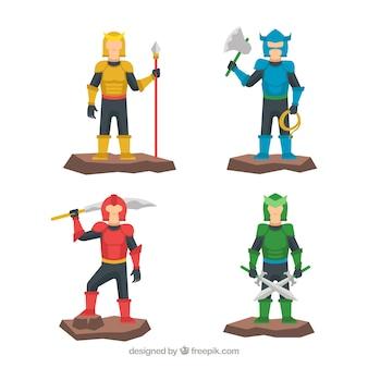 Zestaw postaci z kolorową zbroją