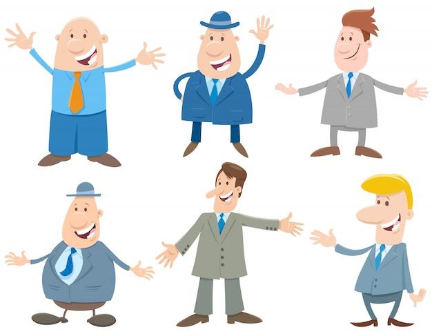 Zestaw postaci z kreskówek biznesmenów lub mężczyzn