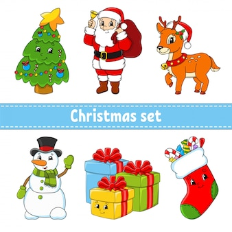 Zestaw postaci z kreskówek. choinka, święty mikołaj, jeleń, bałwan, pudełka na prezenty, skarpety ze słodyczami. szczęśliwego nowego roku i wesołych świąt.