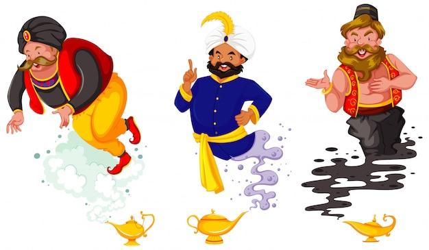 Zestaw postaci z kreskówek fantasy i motyw fantasy na białym tle