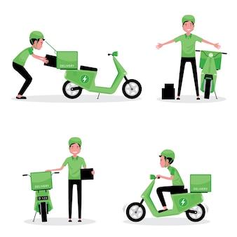 Zestaw postaci z kreskówek firmy logistycznej przedstawiający mężczyznę dostarczającego paczkę skuterem