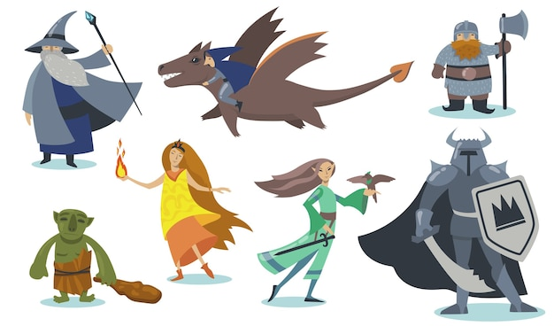 Zestaw postaci z kreskówek gier komputerowych. gigant, wiking wojownik z tarczą, ork, magik, elf, gnom, hobbit. ilustracja wektorowa kreskówka na białym tle do gry online, fantasy i baśni