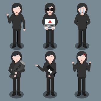 Zestaw postaci z kreskówek hakera w różnych pozach i emocjach. pojęcie ochrony internetu, hakowania i kodowania.