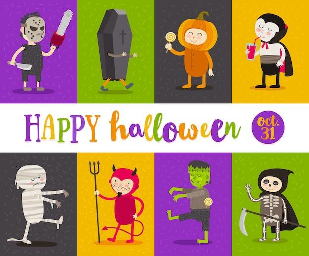 Zestaw postaci z kreskówek halloween. ilustracja.
