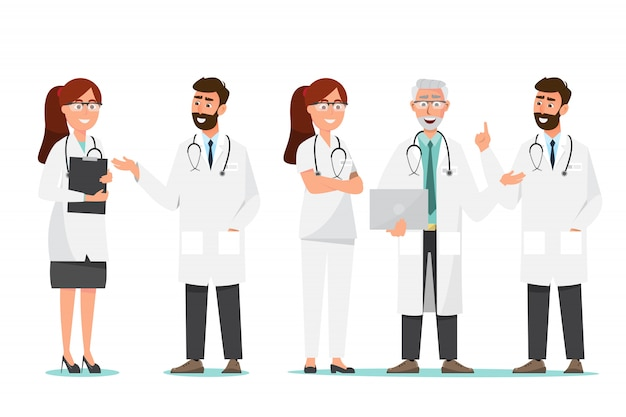 Zestaw postaci z kreskówek lekarz. personel medyczny zespołu koncepcji w szpitalu.