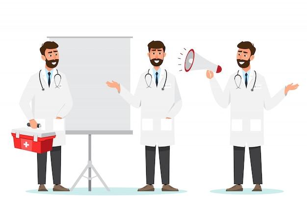 Zestaw postaci z kreskówek lekarz. zespół personelu medycznego w szpitalu.