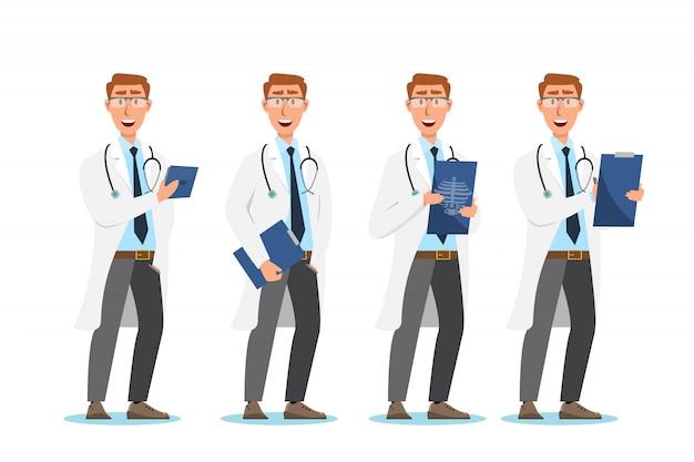 Zestaw postaci z kreskówek lekarza. koncepcja zespołu personelu medycznego