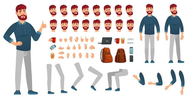 Zestaw postaci z kreskówek. mężczyzna w zwykłym ubraniu, różnych rękach, pozach nóg i emocjach na twarzy. postacie pozuje konstruktor, hipster lub biznesmen kreatywny. zestaw ikon wektorowych na białym tle