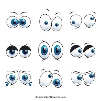 Zestaw postaci z kreskówek oczy