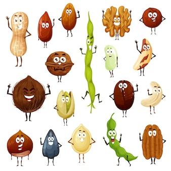 Zestaw postaci z kreskówek orzechów, nasion i fasoli