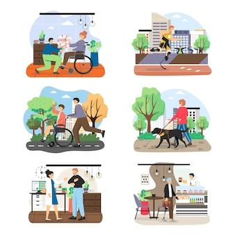 Zestaw postaci z kreskówek osób niepełnosprawnych i wad wzroku