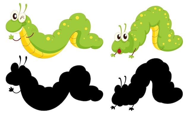 Zestaw postaci z kreskówek owadów i jego sylwetka na białym tle