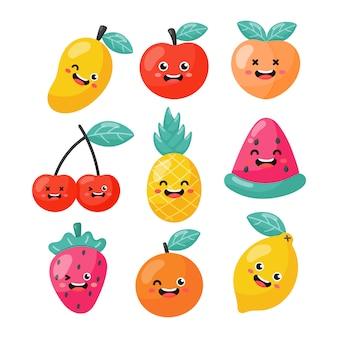 Zestaw postaci z kreskówek owoców tropikalnych w stylu kawaii, na białym tle.
