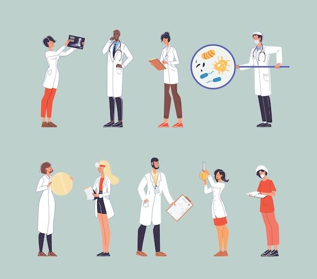 Zestaw postaci z kreskówek płaski lekarz w pracy
