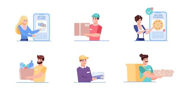Zestaw postaci z kreskówek płaskich dostawy
