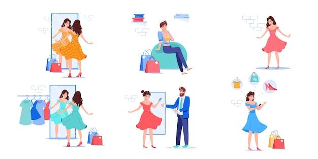 Zestaw postaci z kreskówek płaskich kobiet próbujących nowego stroju