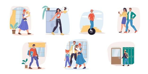 Zestaw postaci z kreskówek płaskich rodzinnych różnych scen życiowych