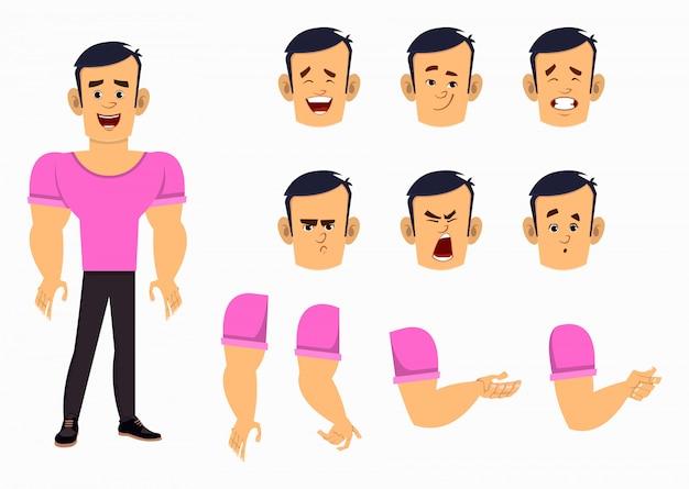 Zestaw postaci z kreskówek silny chłopiec do animacji, projektowania lub ruchu z różnymi emocjami twarzy i rąk