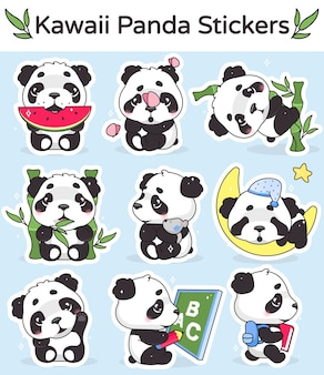 Zestaw postaci z kreskówek słodkie panda kawaii. urocze, wesołe i zabawne zwierzę jedzące arbuza, bambusowa naklejka na białym tle, opakowanie plastrów. anime baby panda bear śpiący emoji na niebieskim tle